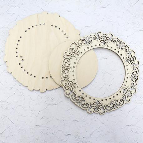 Круглая малая Рамка ажурная деревянная для вышивки ОР-031