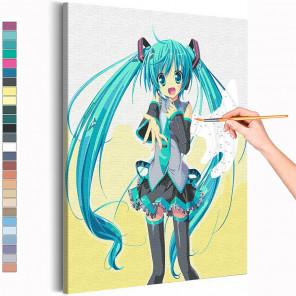 Хацунэ Мику Раскраска картина по номерам на холсте с неоновыми красками AAAA-ANI002