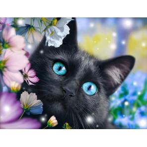 Черный кот в цветах Алмазная вышивка мозаика АЖ-1900