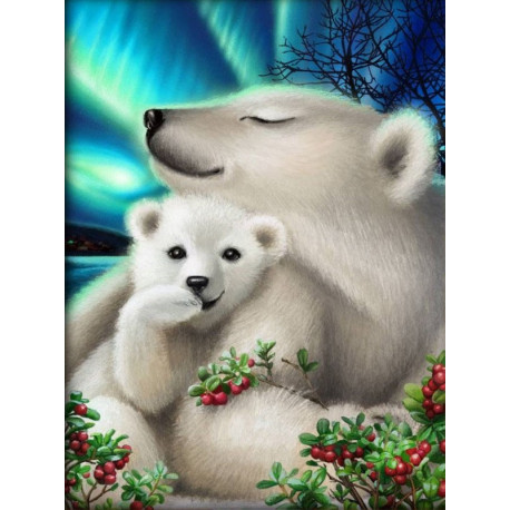 Белые медведи Алмазная вышивка мозаика АЖ-1895