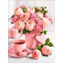 Букет розовое чаепитие Алмазная вышивка мозаика АЖ-1883