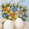 Пример вышитой работы Цветочная. Подставка под яйца Набор для вышивания на деревянной основе МП Студия О-012