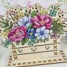 Пример вышитой работы Цветочная композиция Набор для вышивания на деревянной основе МП Студия О-018