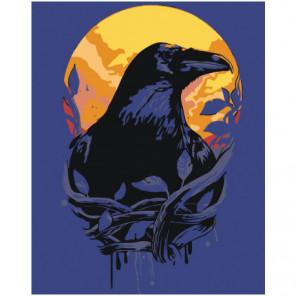 Ворон и луна Раскраска картина по номерам на холсте