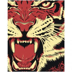 Рычащий тигр 80х100 Раскраска картина по номерам на холсте