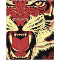 Рычащий тигр 100х125 Раскраска картина по номерам на холсте
