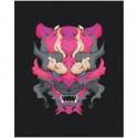 Японская маска демона 80х100 Раскраска картина по номерам на холсте