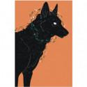 Черный пес 100х150 Раскраска картина по номерам на холсте