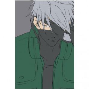Какаси Хатакэ в тени аниме 100х150 Раскраска картина по номерам на холсте