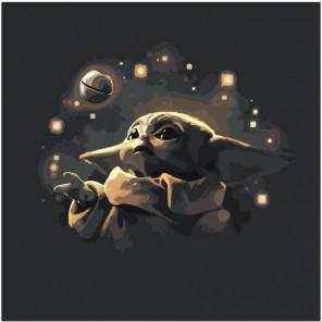 Малыш Йода в космосе 100х100 Раскраска картина по номерам на холсте