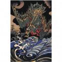 Дракон над волнами Раскраска картина по номерам на холсте
