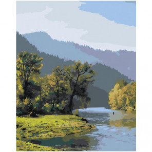 Пейзаж река в горах 80х100 Раскраска картина по номерам на холсте