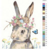 Кролик с цветами Раскраска картина по номерам на холсте