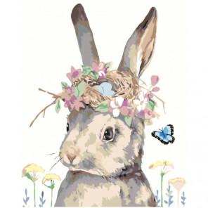 Кролик с цветами 80х100 Раскраска картина по номерам на холсте
