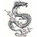 Дракон с цветами Раскраска картина по номерам на холсте