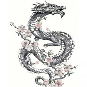 Дракон с цветами 100х125 Раскраска картина по номерам на холсте