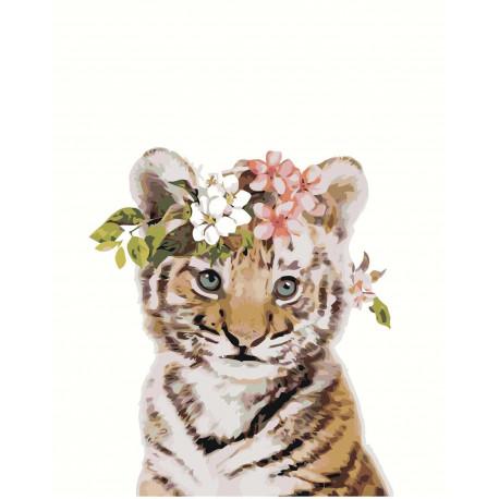 Тигренок с цветами 100х125 Раскраска картина по номерам на холсте