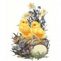 Цыплята с цветами Раскраска картина по номерам на холсте