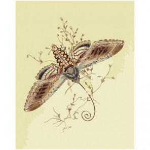 Коричневая бабочка 100х125 Раскраска картина по номерам на холсте