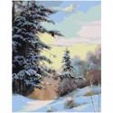 Зимний лес 80х100 Раскраска картина по номерам на холсте