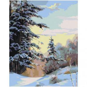 Зимний лес 100х125 Раскраска картина по номерам на холсте