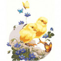 Цыпленок с цветами 80х100 Раскраска картина по номерам на холсте