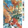 Японский дракон и карп 100х150 Раскраска картина по номерам на холсте