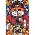 Кот и бульдог Раскраска картина по номерам на холсте