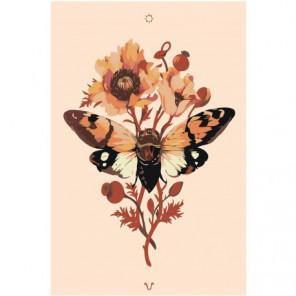 Бабочка на цветке 100х150 Раскраска картина по номерам на холсте
