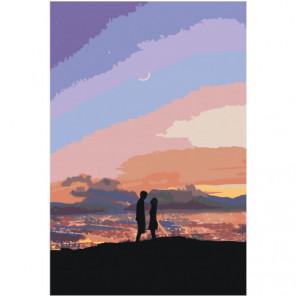 Влюбленные силуэт 80х120 Раскраска картина по номерам на холсте