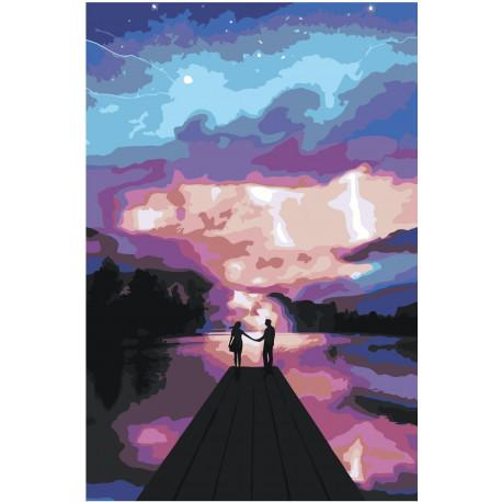 Влюбленные ночью на пристани Раскраска картина по номерам на холсте