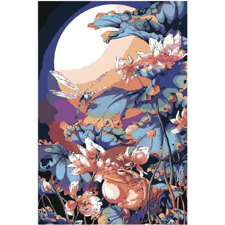 Аниме стрекоза, лягушка и цветы 80х120 Раскраска картина по номерам на холсте