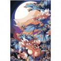 Аниме стрекоза, лягушка и цветы 100х150 Раскраска картина по номерам на холсте
