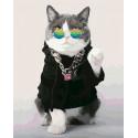 Модный кот Раскраска картина по номерам на холсте U8076