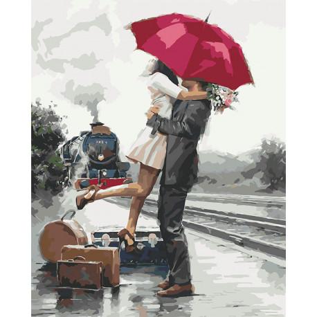 Объятия под красный зонтом Раскраска картина по номерам на холсте U8031
