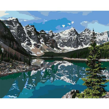 Горное озеро Раскраска картина по номерам на холсте U8032