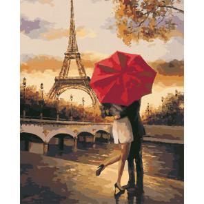 Поцелуй в Париже Раскраска картина по номерам на холсте U8026