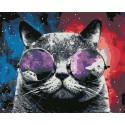 Космический кот Раскраска картина по номерам на холсте U8012