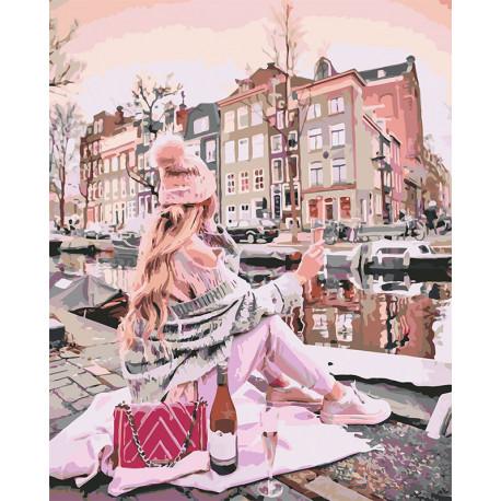 Девушка с вином у канала Раскраска картина по номерам на холсте U8013