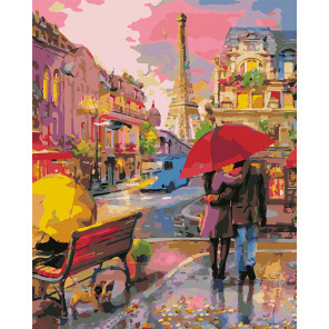 Прогулка по Парижу Раскраска картина по номерам на холсте U8001