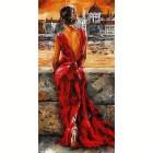Девушка в красном платье (художник Emerico Imre Toth) Раскраска по номерам акриловыми красками на холсте Живопись по номерам