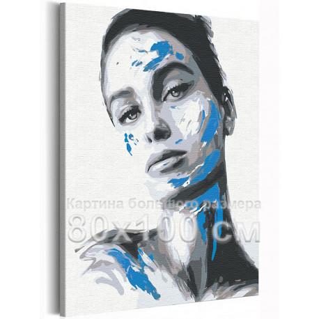 Девушка / Игра цвета 80х100 см Раскраска картина по номерам на холсте AAAA-RS117-80x100