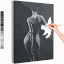 Девушка / Обнаженный силуэт Раскраска картина по номерам на холсте AAAA-RS130