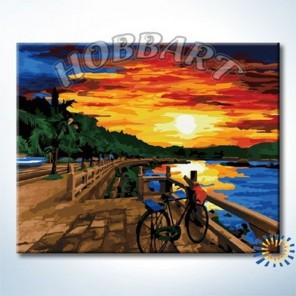 Закатная набережная Раскраска по номерам акриловыми красками на холсте Hobbart