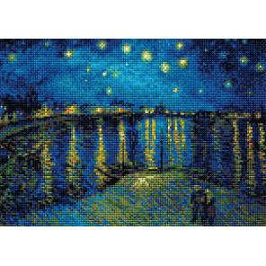 Звездная ночь над Роной по мотивам картины Ван Гога Алмазная вышивка мозаика Риолис АМ0044