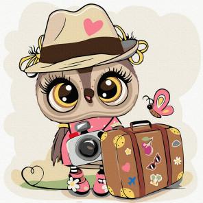Совушка-путешественница Раскраска картина по номерам на холсте KH1026