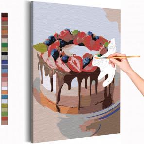 Клубничный торт Раскраска картина по номерам на холсте AAAA-RS138