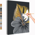 Золотые и серебрянные листья Раскраска картина по номерам на холсте с металлическими красками AAAA-RS118