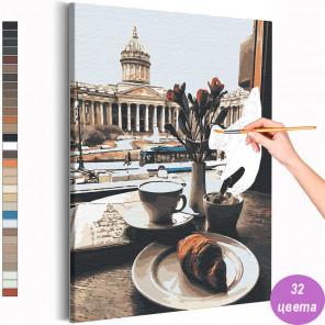 Вид на Казанский собор / Утро в Санкт-Петербурге Раскраска картина по номерам на холсте AAAA-RS119