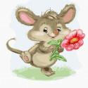 Мышка с цветком Раскраска картина по номерам на холсте KH1017